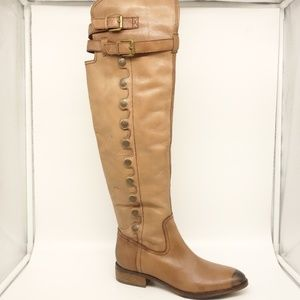 SAM EDELMAN Over The Knee Boots Brown Leather